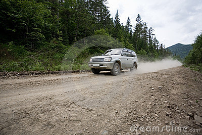 Rally on a dirt road.