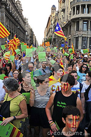 Rally for the independence of Catalonia Editorial Photography