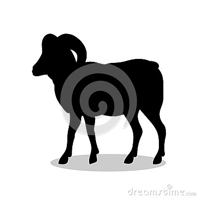 Ram farm mammal black silhouette animal Vector Illustration