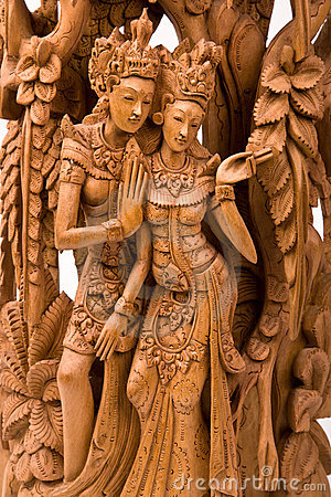 Rama And His Wife Sita Wood Carving Stock Images - Image: 6705534
