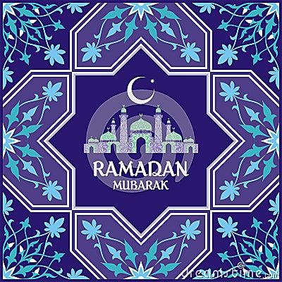 Ramadan card blue Vector Illustration