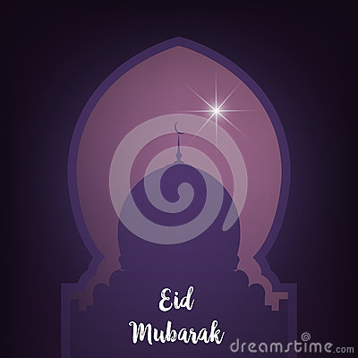 Ramadan. Eid Mubarak card. Illustration with mosque and glowing star. Vector Illustration