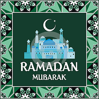 Ramadan greeting card green Vector Illustration
