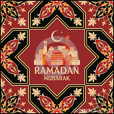 Ramadan greeting card terracota Vector Illustration
