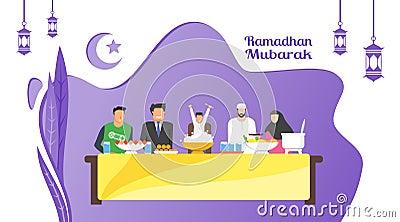 Ramadan iftar party Vector Illustration