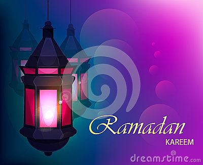 Ramadan Kareem Beautiful Greeting Card With Traditional Arabic Lantern On  Blurred Purple Background. Cartoon Vector