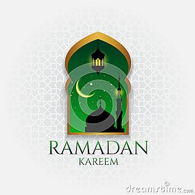 Ramadan kareem - gold door and hanging at night Vector Illustration