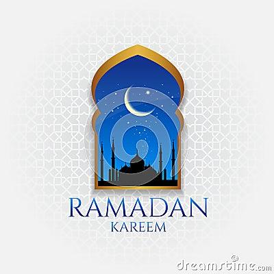 Ramadan kareem - gold door and moon and star at night vector design Vector Illustration