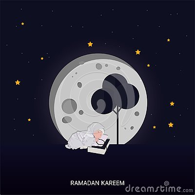 Ramadan Kareem greeting lettering card with moon and star Vector Illustration