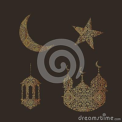 ramadan mond stern lampe und moschee gemacht mit abstrakter verzierung satz ramadan kareem. Black Bedroom Furniture Sets. Home Design Ideas
