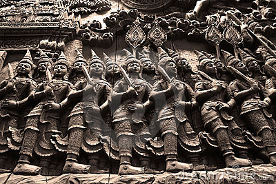 The Ramayana Epic carved from wood