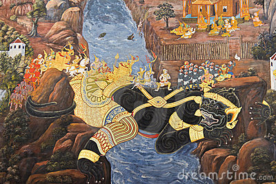Ramayana epic painting at Wat pra kaew, Thailand