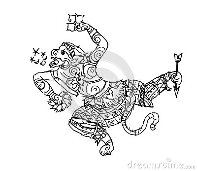 Ramayana monkey, Hanuman, thai art drawing