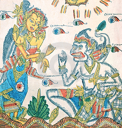 Ramayana paintings on the cloth, Bali