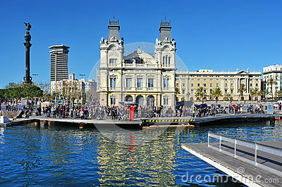 Rambla de Mar and Port Vell in Barcelona, Spain Editorial Stock Image