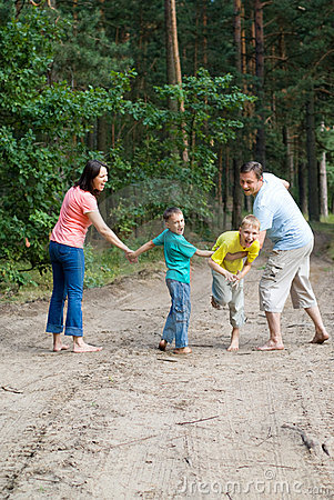 Rambling family in the forest