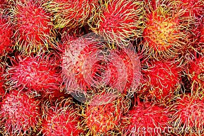 Rambutan fruits at local market