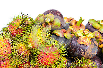Rambutan and mangosteen isilated on white background