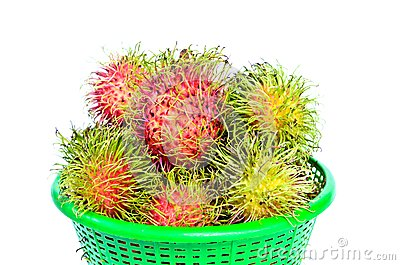 Rambutans tropical fruit on basket
