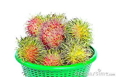 Rambutans tropical fruit on basket