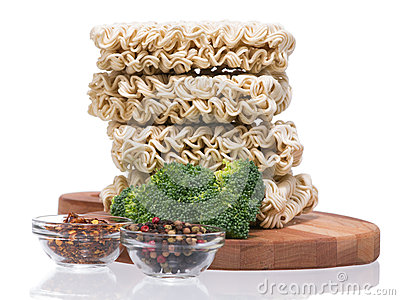 Ramen instant raw noodles on wooden plank 3/4 presentation 2