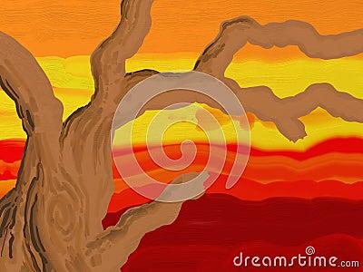 Ramificaciones pintadas del estilo en la puesta del sol
