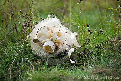 Ramo blanco de la boda en hierba verde