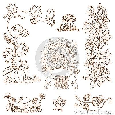 Ramos decorativos do outono - para o álbum de recortes
