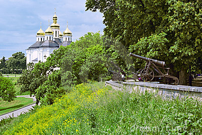 Rampart with cannons and Church