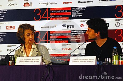 Rampling and Southcombe at press-conference Editorial Image