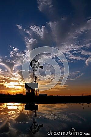 Ranch Windmill at Sunset