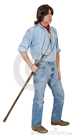 Rancher Farmer Worker Laborer Long Hair Isolated