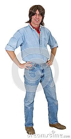 Rancher Farmer Worker Laborer Long Hair Isolated
