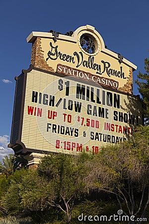 Ranchkasinot för den gröna dalen undertecknar in Las Vegas, NV på Augusti 20, 20 Redaktionell Arkivbild
