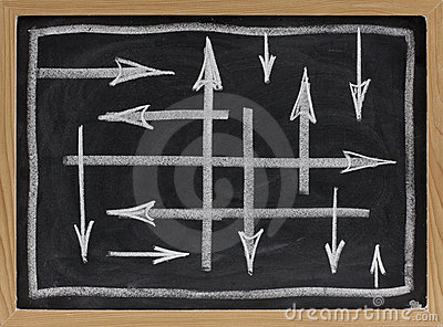 Random directions -  abstract on blackboard