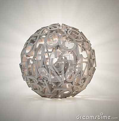 Random letters sphere