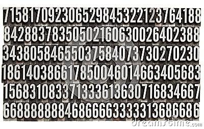 Random numbers in metal letterpress type