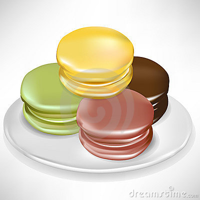Random pile of macaroons on plate