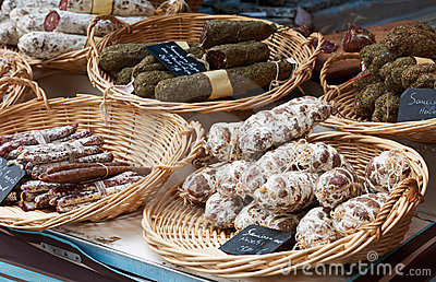 Random sausages at Provence market