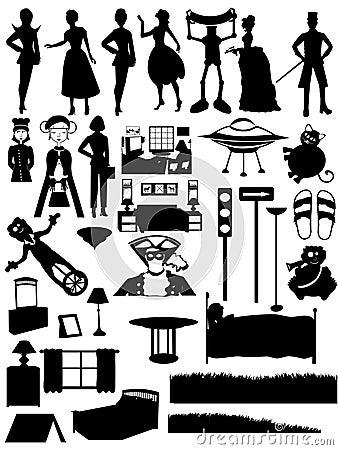 Free Random Silhouettes Set, Steampunk, People, Furnitu Stock Images - 7538514