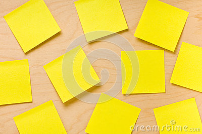 Randomly Arranged Yellow Post-it Collection