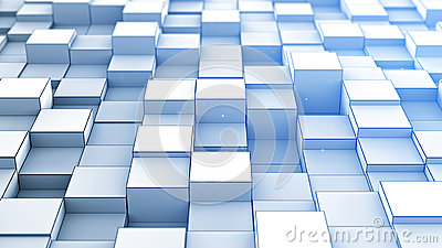 Randomly extruded blue cubes abstract 3D render Cartoon Illustration