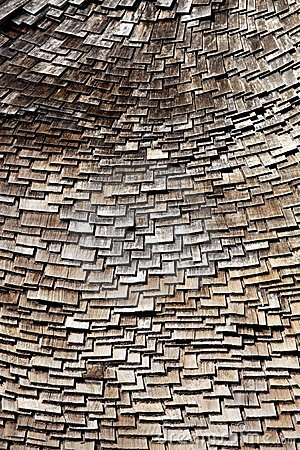 Randomly Organized Roof Wooden Tiles