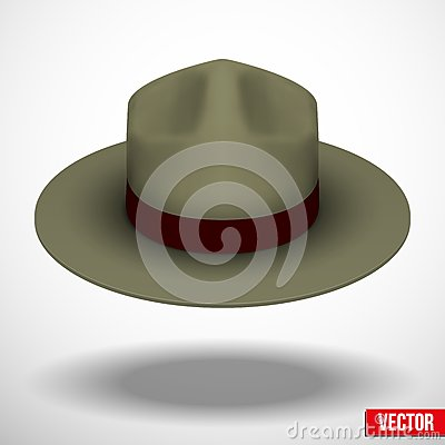 Ranger hat khaki green color. Vector Illustration