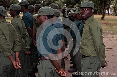Rangers during a drill in the Gorongosa National Park Editorial Stock Image