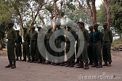 Rangers during a drill in the Gorongosa National Park Editorial Photography