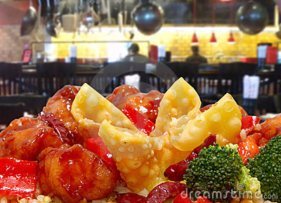 Rangoon and General Tso Chicken in Restaurant