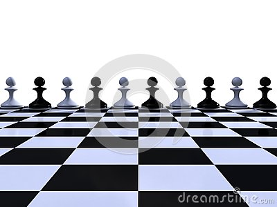 Rank of black and white pawns
