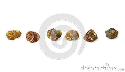 Rank of raisins isolated over white