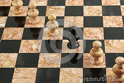 Rank of white and black pawns